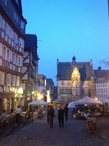 Downtown Marburg in the evening.